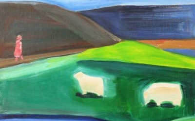 Louisa Matthíasdóttir, Four Sheep and Girl in Icelandic Landscape n.d. (courtesy