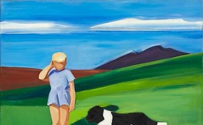 Louisa Mattiasdottir, Boy and Dog in Icelandic Landscape, c.1985, oil on canvas,