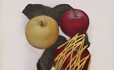 (detail) Jen Mazza, Untitled (4 Apples, Gold), 2014, oil and gold leaf on canvas