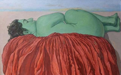 (detail) Margaret McCann, Ayers Rock, 40 x 40 inches, oil on canvas, 1995 (court