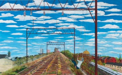 Sarah McEneaney, Viaduct, West Poplar, 2013, egg tempera on wood, 36 x 48 inches