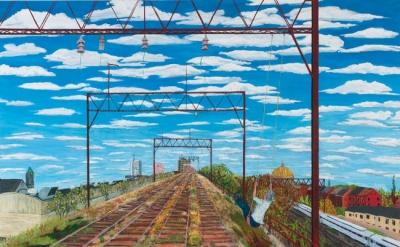 Sarah McEneaney, Viaduct, West Poplar, 2013, egg tempera on wood, 36 x 48 inches