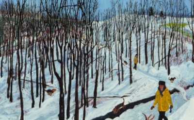 (detail) Sarah McEneaney, Wissahickon, 2000, egg tempera on gessoed wood, 24 x 2