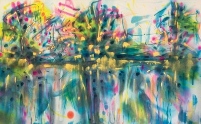 Saira McLaren, Untitled (Reflection), 2014, pigments on raw canvas, 36 x 48 inch