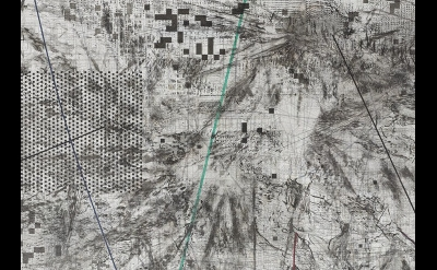(detail) Julie Mehretu: Mogamma (A Painting in Four Parts): Part II, 2012, ink a