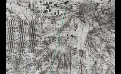 (detail) Julie Mehretu: Mogamma (A Painting in Four Parts): Part II, 2012, ink a