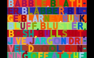 (detail) Mel Bochner, Babble, 2011, oil and acrylic on two canvases, 100 x 85 in