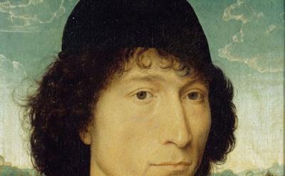 (detail) Hans Memling, Portrait of a Man with a Roman Coin (Anversa, Koninklijk