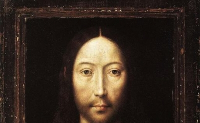 (detail) Hans Memling, Christ Blessing, 1481 oil on panel, 13 1/8 × 9 7/8 inches