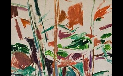 (detail) Mercedes Matter, Deer Isle, Maine, c. 1958, Oil on artist board, 20 x 1