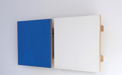 John Meyer, Untitled Diptych (Blue-White), 1994, egg tempera on cradled oak pane