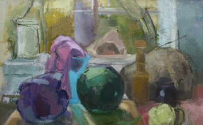 Ruth Miller, Cabbage, Melon, Window Still Life, 2013/14, oil on canvas, 26 x 31