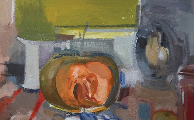 Ruth Miller, Open Pumpkin and Lantern, 2016, oil on board, 24 x 30 inches (photo: Ramsay Turnbull)