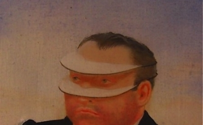 (detail) David Miretsky, Man Who Can See Only Horizontally, oil on panel, 3 3/4