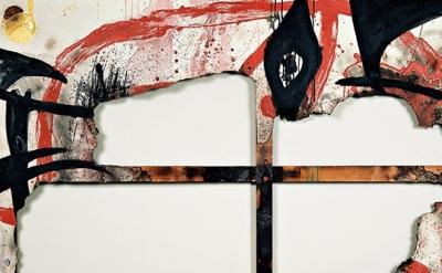 (detail) Burnt Canvas 4, December 4–31, 1973, acrylic on burnt canvas, 130 x 195