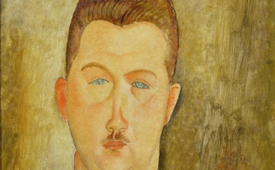 (detail) Amedeo Modigliani, Dr François Brabander, 1918, oil on canvas, 46 x 38