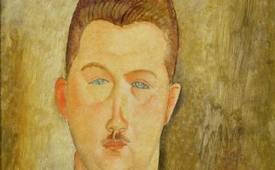 (detail) Amedeo Modigliani, Dr François Brabander, 1918, oil on canvas, 46 x 38