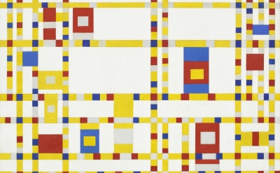 (detail) Piet Mondrian Broadway Boogie Woogie 1942-43, oil on canvas, 50 x 50 in