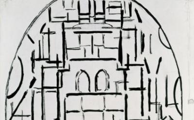 (detail) Piet Mondrian, Kirchenfassade 1: Kirche von Domburg, 1914 (courtesy Mar