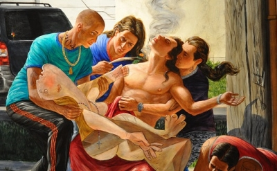 (detail) Kent Monkman, The Deposition, 2014, acrylic on canvas, 84 x 126 inches