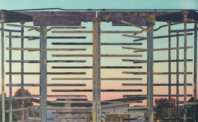 (detail) John Moore, Turnstile, 2012, oil on canvas, 70 × 68 inches (photo: Will