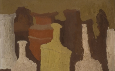 (detail) Giorgio Morandi, Still Life, 1931, oil on canvas, 16 1/2 x 16 1/2 inche