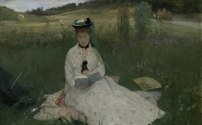 Berthe Morisot, Reading (The Green Umbrella), 1873, oil on fabric (Cleveland Museum of Art, Gift of the Hanna Fund, 1950.89, photo © Cleveland Museum of Art)
