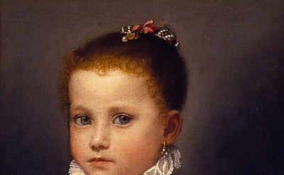 (detail) Giovanni Battista Moroni, Portrait of a Little Girl of the Redetti Fami
