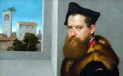 (detail) Giovanni Battista Moroni, Bartolommeo Bonghi (shortly after 1553) oil o