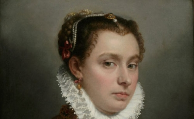 (detail) Giovanni Battista Moroni, Young Lady, c. 1560-65, oil on canvas, 51 x 4