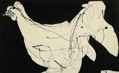 Robert Motherwell, Fowl, 1951, ink on board, 17 3/4 x 26 1/2 inches (© Dedalus F