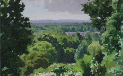 (detail) Kurt Moyer, View from the Park, 15.25 × 16 inches, oil on linen, 2009 (