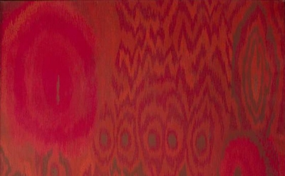 Lee Mullican, Threaded Red, 1962, Oil on canvas, 50 x 60 inches (courtesy of Jam
