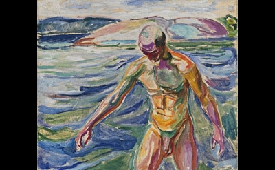 (detail) Edvard Munch, Bathing Man, 1918, oil on canvas (The National Museum of
