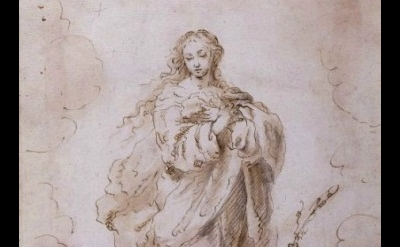 (detail) Bartolomé Esteban Murillo, The Immaculate Conception, pen and brown ink