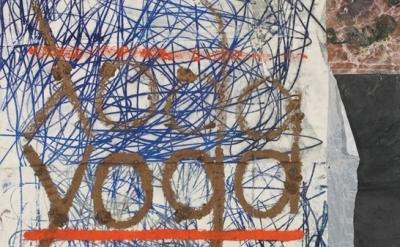 (detail) Oscar Murillo, yoga, 2012, oil, spray paint, oilstick, dirt on canvas,
