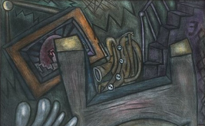 (detail) Elizabeth Murray, Lovers, mezzotint, 1996, 28 x 26 1/2 inches (courtesy