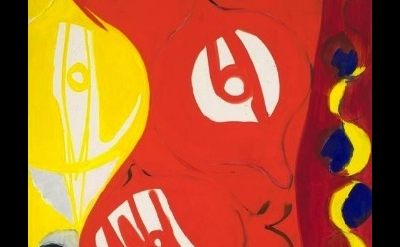 (detail) Ernst Wilhelm Nay, Red in Red II, 1965, oil on canvas, 63 3/4 x 59 inch