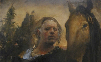 (detail) Odd Nerdrum, Self portrait at L'Hippodrome (courtesy of the artist)