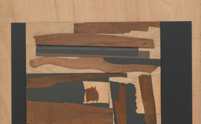 (detail) Louise Nevelson, Untitled, 1960. cardboard, paper, pencil, and wood col