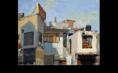 (detail) George Nick, Haus Khas Village, Delhi-India, oil on canvas (photo: Nick