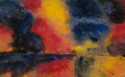 (detail) Emil Nolde, Sea Watercolor with Steamers (red, yellow, blue), 1946, wat