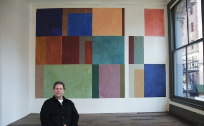David Novros with Untitled Mural (1970) at 101 Spring St. (Judd Foundation Archi