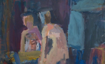 (detail) Janice Nowinski, Woman Dressing in Front of Mirror, 2016, oil on linen, 20 × 16 inches (courtesy of Kent Fine Art)