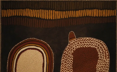 Lena Nyadbi, Jimbala, Jeering and Daiwul Country, 2001, ochres on canvas (courte