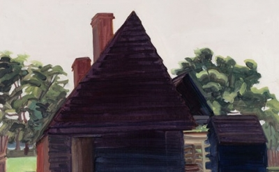 (detail) Elizabeth O'Reilly, Black House and Shadow, oil on panel, 11 x 19 inche