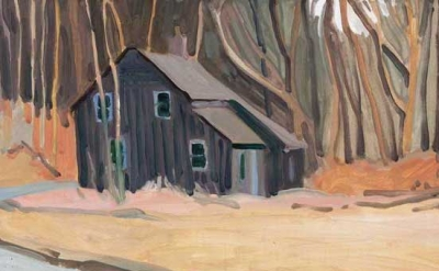 (detail) Elizabeth O'Reilly, Black House, Blairstown, oil on panel, 6 x 12 inche