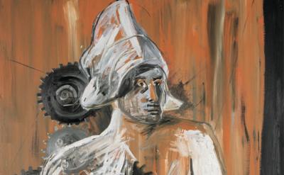 (detail) Albert Oehlen, Selbstportrait als Holländerin, 1983 courtesy of the art