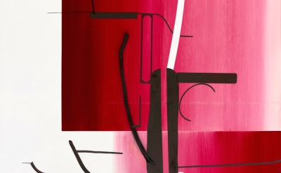 (detail) Albert Oehlen, Untitled, 2014, oil on dibond, 147 5/8 x 98 7/16 inches
