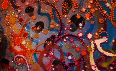 Detail of Chris Ofili painting (screen capture: James Kalm Report)